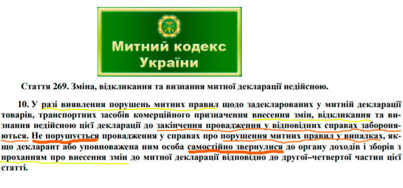 Таможенный Кодекс Украины статья 269